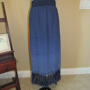 Chico's 100% Linen Maxi Skirt w/Fringe Size 2